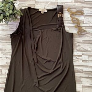 Michael Kors Olive Shoulder Buckler Dress